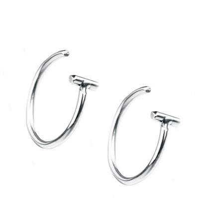 fafafa Anillo de nariz de acero de titanio de 10 mm con clip en piercing falso para oreja, nariz, labio, anillo unisex para la nariz para mujer (piedra principal: 10 mm, color metálico: plata)