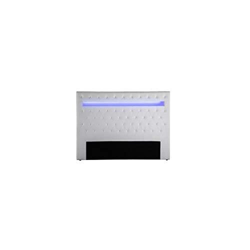 Generisches Kopfteil im zeitgenössischen Stil von Celeste mit LED - White Faux - l 170 cm