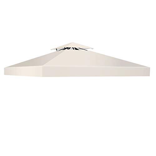 COSTWAY Pavillondach Ersatzdach Pavillonplane Dachabzug Kaminabzug Dachplane für Pavillon 3x3M (Beige)