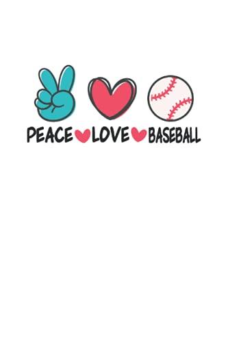 Peace Love Baseball Funny Baseball: Cuaderno punteado, Regular (6