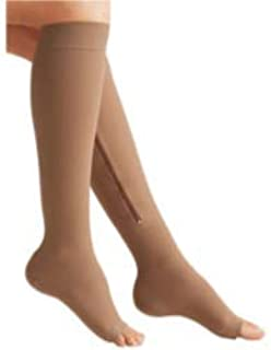 Zippered Medical Compression Socks with Zipper Safe Protection & Open Toe (Sizes Med to Wide 6XL)- Support Stockings for Men & Women (3XL-Calf 17-19 inch Beige)