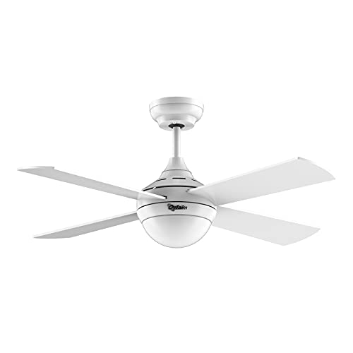 Ovlaim Ventilador de techo Silencioso de con Luz LED (Regulable, 3 colores) y Mando a Distancia (6 velocidades), motor de CC de bajo consumo, 122 cm, adecuado para verano e invierno - Blanco