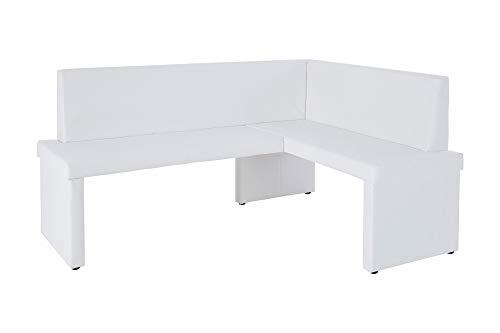 HOMEXPERTS Eckbank links MULAN / Moderne Sitzbank mit Lehne in weiß / Küchen-Bank gepolstert / Lederimitat / Eckbankgruppe langer Schenkel links  / 165 x 125cm / 82x54 cm (HxT)