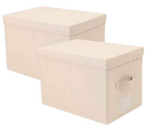 Oucity Caja de almacenamiento plegable A3 con tapa dura (2 unidades), color beige