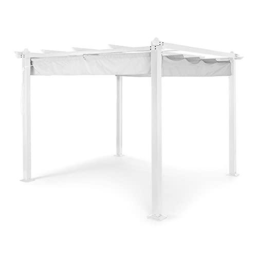 blumfeldt Pantheon Pergola Pavillon Vordach Sonnendach, weißes Aluminiumkantrohr 10x10 cm Eckpfosten mit 1,2 mm Materialdicke, Dach aus Polyester, wasserabweisend, überdachte Fläche: 3x3 m, grau