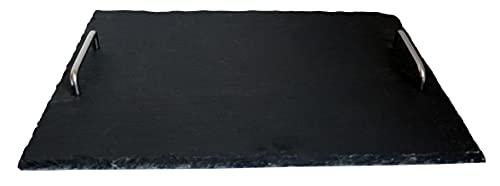 Bandeja de pizarra con asas de acero inoxidable. Bandeja rectangular para servir/servir de pizarra natural triturada a mano para servir platos de queso, antipasti, aperitivos, etc. 40 x 30 cm.
