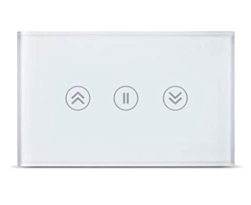 Xbai Interruptor inteligente para cortina enrollable de control de motor, interruptor de pared, color negro (blanco)