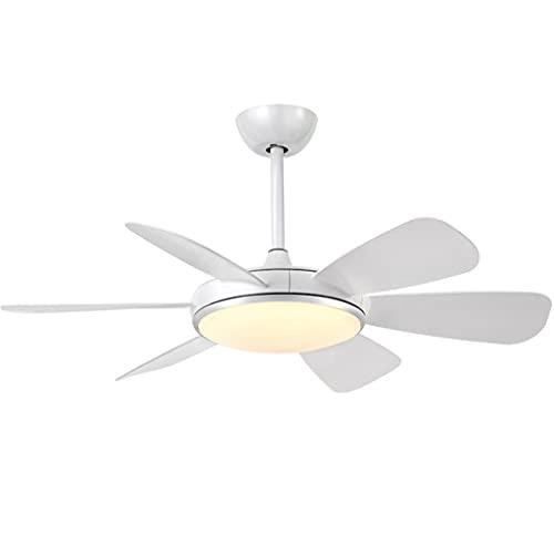 LZL Ventilador de Techo de Simplicidad de 52 Pulgadas con Luces y Control Remoto para Sala de Estar de Sala de Estar (5 Cuchillas) (Color : White)