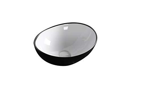 Design Waschbecken Aufsatzwaschbecken Waschtisch Waschschale Hochglanz SCHWARZ WEIß OVAL mit Lotus Effekt schmutzabweisend 410 x 330 x 145 (7007) Art-of-Baan®
