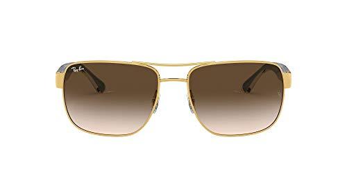 Ray-Ban Rb3530 Óculos de sol quadrados de metal, Dourado/marrom dégradé, 58 mm