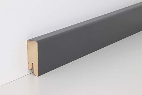 Schnell | Clip Sockelleiste Anthrazit mit Kabelkanal unsichtbare Clip-Befestigung 18mm x 50mm x 2,5m geeignet für Feuchträume