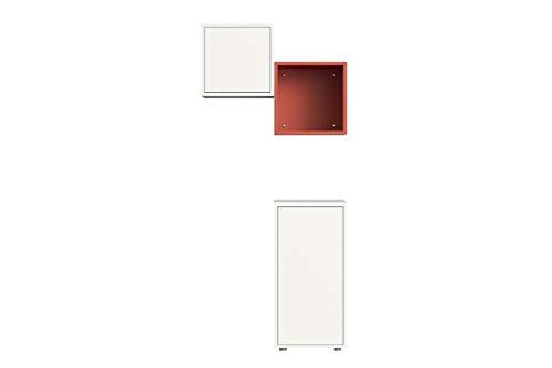 Iconico Home QBE, Set Comodino, Bianco/Corallo, composto da: Cubo da parete 1 anta/1 ripiano, Cubo da parete 1 anta, Cubo da parete 1 vano a giorno