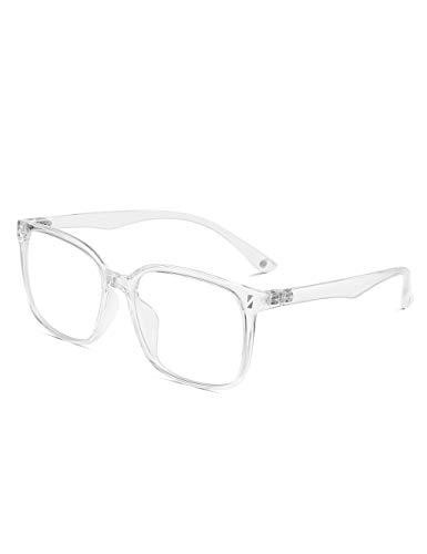 CNLO Blue Light Blocking Glasses,Square Computer Eyewear,Anti Eyestrain UV Clear Lens Eyeglasses,Light Weight Frame Men/Women (Crystal)