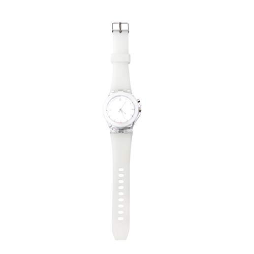 Baluue Reloj Luminoso Led Reloj Deportivo a Prueba de Agua Niñas Estudiantes Mujeres Reloj de Cuarzo para Niños Blanco
