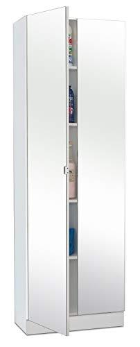 Hochschrank Badezimmerschrank Badregal | Weiß | mit Spiegel