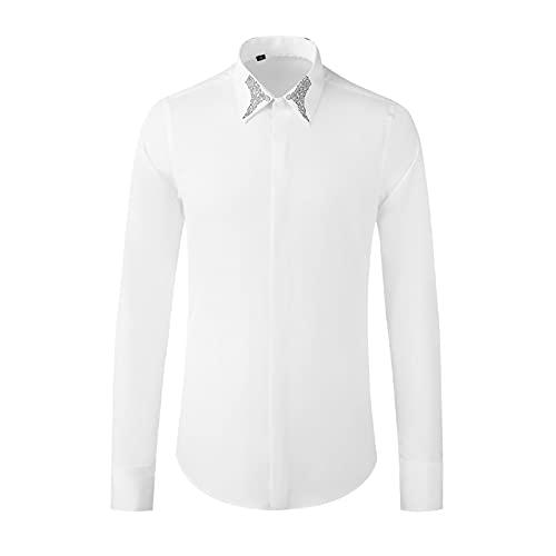 HDDNZH Camisas De Manga Larga Delgadas - Cuello De Tótem De Manga Larga Vestido De Camisa Impreso Top, Button Down Turn-Down Collar Blusa Casual para Negocios De Hombres Ropa Juvenil, Blanco, XXL
