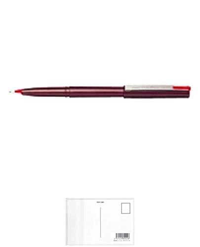 ぺんてる サインペン プラマン JM20-BD 10本セット 赤 + 画材屋ドットコム ポストカードA