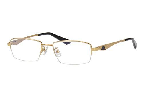 Agstum Pure Titanium Half Rimless Business Glasses Frame Optical Eyeglasses 53-18-140 (Gold)