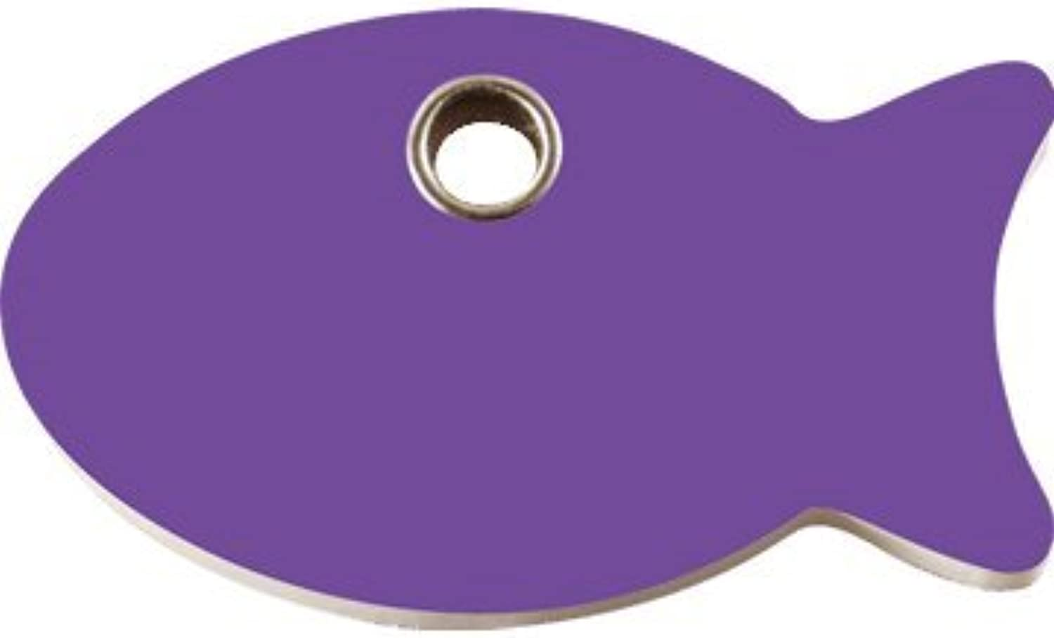 Red Dingo Flat Plastic Engraved Dog ID Tag  Fish Small Purple by Red Dingo