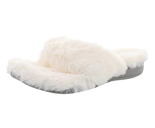 Vionic Women's Indulge Gracie Toe-Post Plush Slipper -Comfortable Toe-Post Spa House Slippers that include Three-Zone Comfort with Orthotic Insole Arch Support, Soft House Shoes for Ladies Ivory 10 Medium US