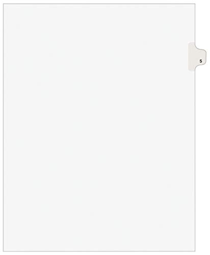 Avery Individual Legal Exhibit Dividers, Avery Style, 5, Side Tab, 8.5 x 11 inches, Pack of 25 (11915), White