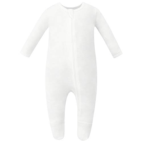 Owlivia Organic Cotton Baby Pajamas, Boys Girls Zip Front Sleep 'N Play, Footed Sleeper, Long Sleeve (Newborn, Off-White)