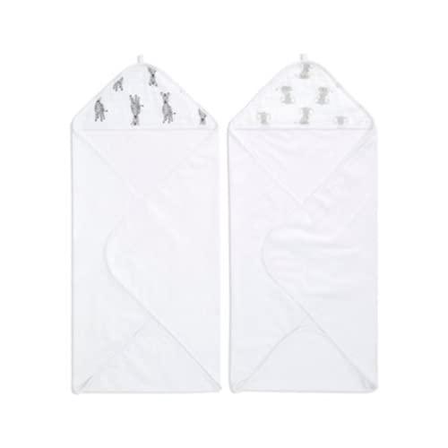 aden + anais™ essentials - Pack de 2 capes de bain à capuche en éponge prélavée 100% coton - Capuche en mousseline 100% coton - Douce - Pratique - Garçon - Fille - Imprimé Safari Babes - 90 cm x 90 cm