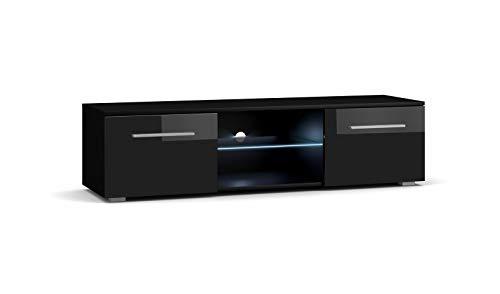 Moon Waschtisch TV Design Schwarz Matt mit Schwarz glänzend. Die LED-Beleuchtung blau