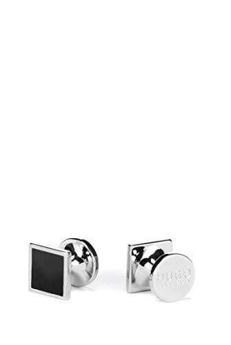 HUGO Herren E-TOTAKE Viereckige Manschettenknöpfe aus Zink mit Emaille-Detail
