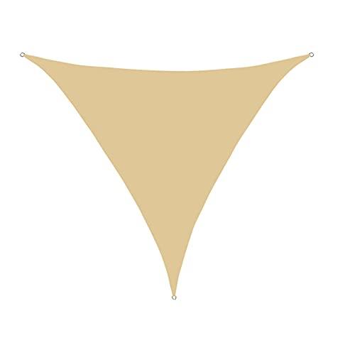 YDHNB 3x3x3m Toldo Vela Triangular de Poliéster con SOGA, Anti-UV 90%, Tela Impermeable, Ideal para Patio/Jardín/Cafetería Patio/Camping/Piscina(Beige)