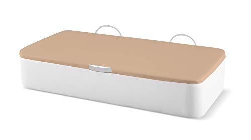 Naturconfort Canapé Abatible Tapizado Apertura Lateral Tapa 3D Beis Low Cost Blanco 105x190cm Envio y Montaje Gratis