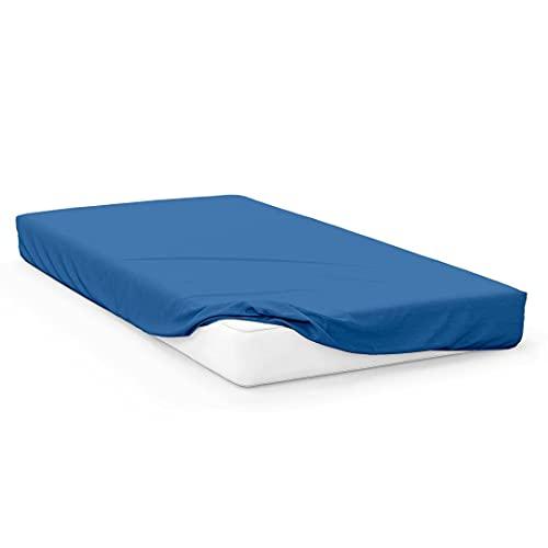 Soleil d'ocre Sábana Bajera Jersey de algodón 90x190 cm Azul Marino