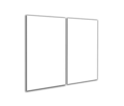 Decoración welt | Tapa para vitrocerámica blanca 2 x 30 x 52 cubierta universal de 2 piezas para placas de cocina de cristal de inducción, protección contra salpicaduras