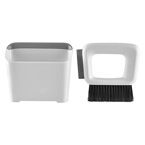 GeKLok Juego de recogedor y cepillo, herramienta de limpieza multifuncional/mini barredora con cepillo de escoba de mano, bandeja antipolvo (blanco)