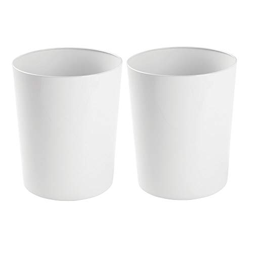 mDesign Round Metal Small Trash Can Wastebasket Garbage Container Bin for Bathrooms Powder Rooms Kitchens Home Offices - Durable Steel 2 Pack - White
