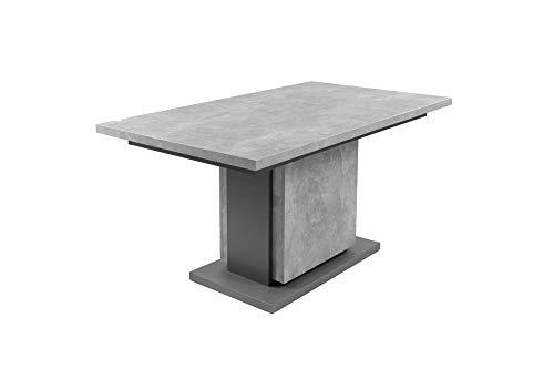 HOMEXPERTS Säulentisch mit Auszug BÄRBEL 140cm / Esszimmertisch grau / Ess-Tisch auf 190 cm ausziehbar / Melamin Light Atelier anthrazit Auszugstisch in Beton-Optik / 140-190 x 75 x 80 cm