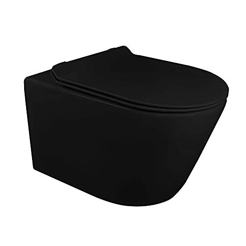 Fine Fixtures Dakota Wall Hung Toilet With Rimless Flush - Black