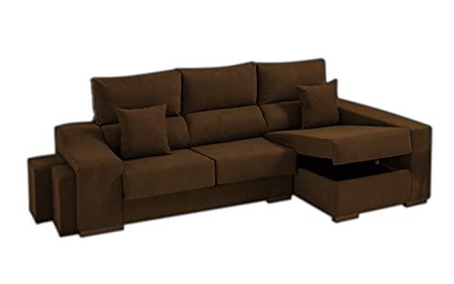 Sofa Lifeream Chaise Longue Derecho 5 Plazas | Arcón Abatible + 2 Puffs | Respaldos Reclinables Ergonómicos | Asientos Extensibles Deslizantes | Marron Chocolat