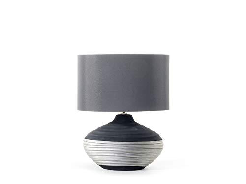 Beliani Moderne Tischlampe runder Lampenschirm Porzellan/Kunstseide grau Lima