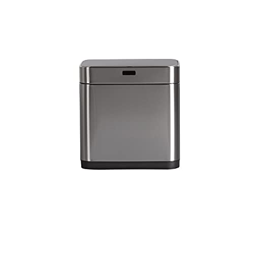 Cubo de Basura Reciclaje 2 Compartimientos con Sensor Automático 20 litros x 2   Dayron   Papelera de Acero Inoxidable   Cubo de Basura Doble de Reciclaje Extraíble   42x30x43 cm