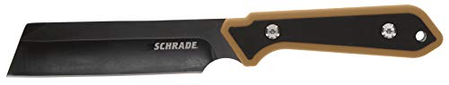 Schrade 4.5' Frontier Fixed Blade Knife with 3CR13 Steel Black Oxide Blade with Lanyard Hole and Hard Polymer Sheath for Outdoor Survival, Camping and Everyday Tasks, Tan