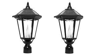 """Gama Sonic GS-99F Windsor Light Outdoor Solar Lamp, 3"""" Post Fitter Mount, Bright White LED, Black"""