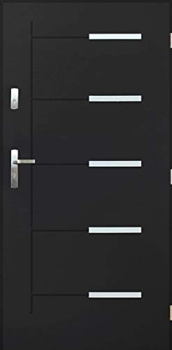 Tür WÄRME-PERMEABILITÄT: 1,3 Kankan Nano Advance Haustür Stahltür Eingangstür 4 Farben Größe 80,90 Anthrazit [90] 990 x 2065 mit einem Türrahmen Rechts)