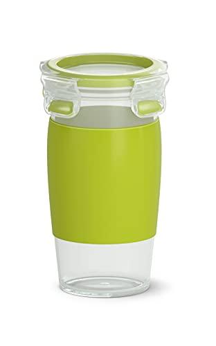 Emsa N10715 Clip&Go Smoothie Becher | 450 ml Fassungsvermögen | Rund | 100% dicht | Spülmaschinenfest | Transparent/ Hellgrün