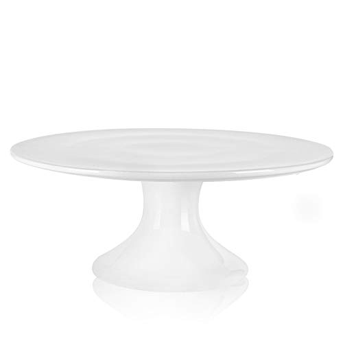 Kanwone 10-Inch Porcelain Round Cake Stand, Cake Plate, Dessert Stand, Cupcake Stand for Parties, Home Decorating Stand, White
