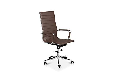 LIFA LIVING Bürostuhl mit Rollen, edler Schreibtischstuhl aus Leder in Dunkelbraun mit Armlehne, Bürohocker aus PU-Leder, Drehstuhl belastbar bis zu 150 KG