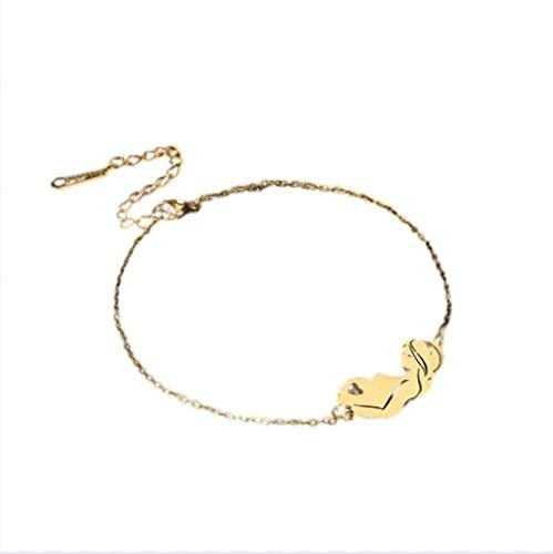 Bebé mamá pulsera de cadena amor familia pulseras con dijes de acero inoxidable brazalete regalo de joyería para mujeres madre, C, color dorado