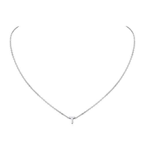Letter T Necklace 925 Sterling Silver Clavicle Necklace Delicate Initial Pendant with Chain Everyday Jewelry