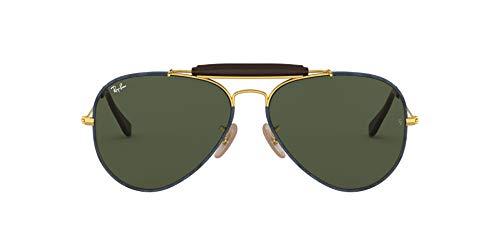 RB3422Q Outdoorsman Craft Aviator Sunglasses, Gold & Blue Jeans/Green, 58 mm