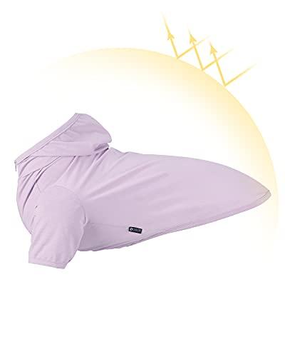 Dociote Hundekleidung T-Shirt mit Kapuze Hund Kapuzenpullis Mantel Pullover Sonnenschutz Kleidung für kleine & mittelgroße Hunde Sommer Lila XXL